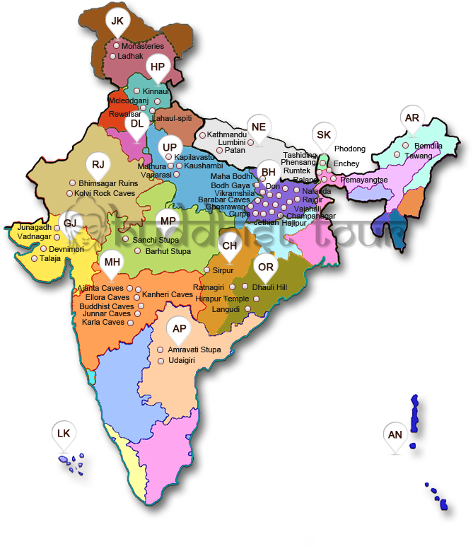 Map of buddhist tour buddhism in india buddhist heritage sites map gumiabroncs Choice Image